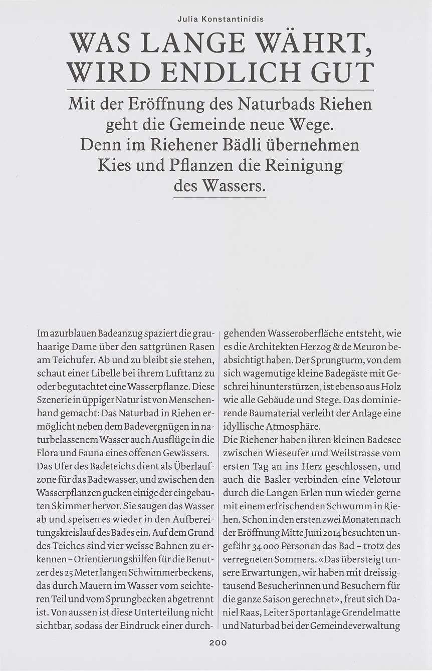 Was lange währt, wird endlich gut - Basler Stadtbuch 2014