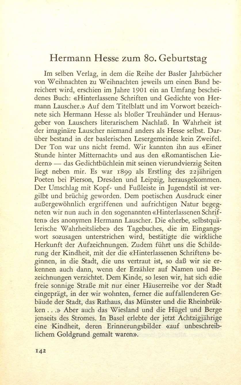 Hermann Hesse Weihnachten.Hermann Hesse Zum 80 Geburtstag Basler Jahrbuch 1958