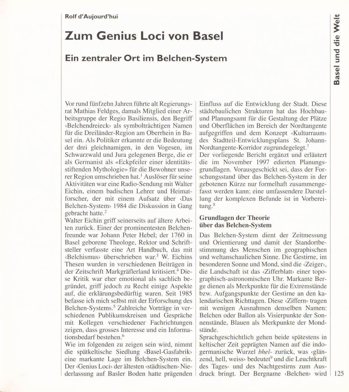 Zum Genius Loci von Basel - Basler Stadtbuch 1997