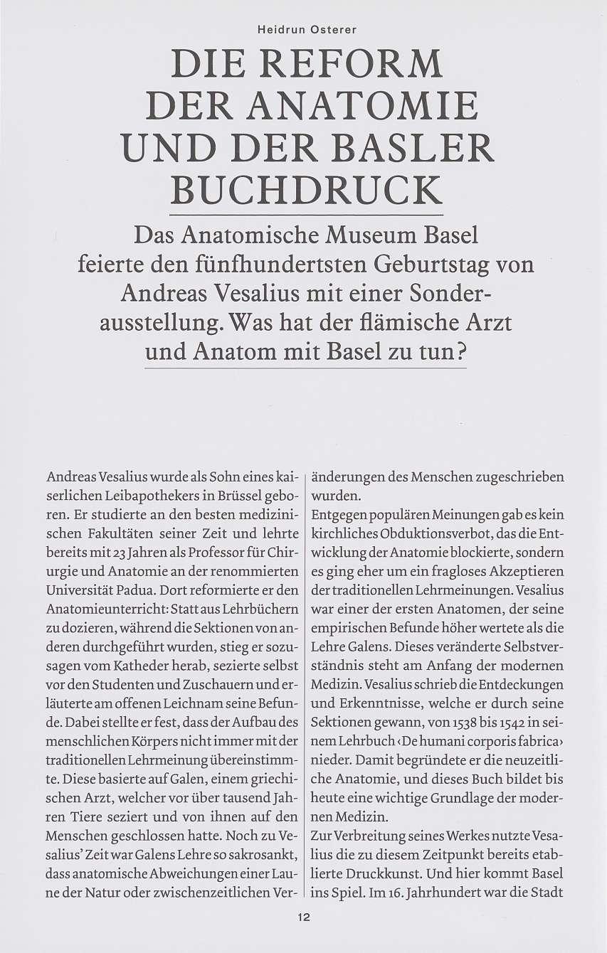 Die Reform der Anatomie und der Basler Buchdruck - Basler Stadtbuch 2014