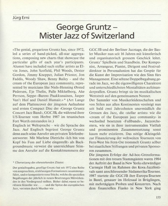 George Gruntz – Mister Jazz of Switzerland – Seite 1