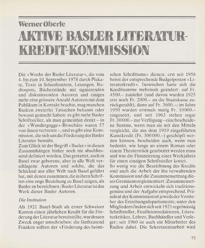 Aktive Basler Literaturkredit-Kommission – Seite 1